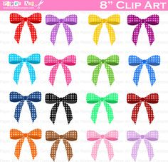 INSTANT DOWNLOAD   Polka Dots Bows Clip Art  by PaperArtbyMC, $5.20