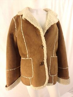 15.76$  Buy here - http://vidow.justgood.pw/vig/item.php?t=324w7hr47450 - CALVIN KLEIN Faux Suede w Faux Shearling Lining Classic Jacket Coat SIZE LARGE