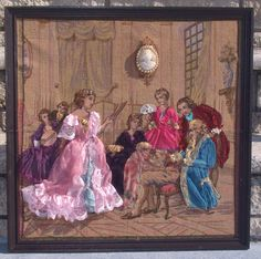 Ribbon and Stumpwork Embroidery by Emenow of Victorian Ladies & Gentlemen's Fashion on Belgium Made Tapestry with Authentic Victorian Cameo Pinned to Tapestry., $450.00