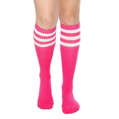 43574b2a8 This pair of hot pink crew socks features three white stripes at the top.