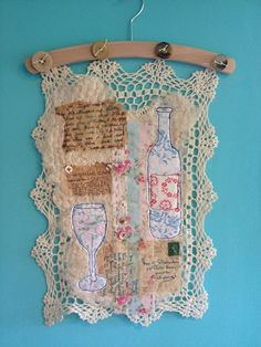 """The Purple Thread Shed - Ali Ferguson- from  the """"Vintage Tea Party wall hanging"""" workshop . this piece by Karl"""