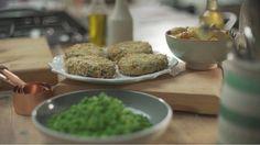 Fishcakes, sautéed potatoes and crushed peas