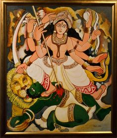 'Shibdute Mahasala' - Dipti Chakraborty - Acrylic on canvas - x Durga Ji, Durga Painting, Indian Art Gallery, Navratri Images, Kali Goddess, Indian Folk Art, Indian Art Paintings, Shiva Shakti, Hindu Deities