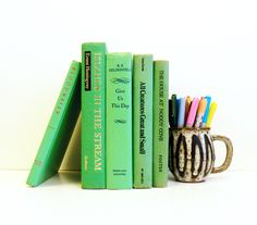 Lime Green Vintage Book Collection / Retro Vintage Book Decor / Rainbow Books / Instant Collection by AmeliaBedeliaVintage on Etsy