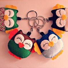 Porte-clés hibou en feutrine animaux de couleurs