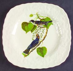 Meakin, Alfred Birds of America (White, Embossed Floral Rim) Square Luncheon…