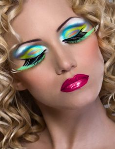 Amazing look!   Make up, mua, make up artist, eyes, eye, eyeshadow, colour, colourful, bright, cosmetics, cosmetology, lips, lipstick, lipgloss, eyelashes, false eyelashes, feathers, blonde, hair,  curly.
