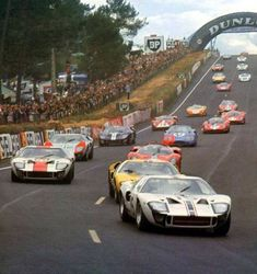 Ford GT 40's assaulting Le Mans in 1966 #FordGT