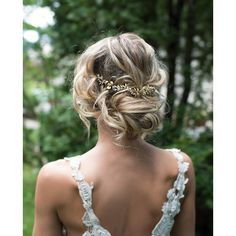 Boho Gold Hair Halo Hair Vine, Flower Hair Crown, Grecian Gold Hair... ❤ liked on Polyvore featuring accessories, hair accessories, gold flower headband, headband hair accessories, gold bridal headband, head wrap headband and floral garland