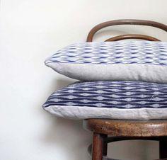 Blue and White Chevron Recycled Decorative Pillow / Cushion Cover. Vintage kimono silk and linen. Geometric Arrow, Vintage Kimono, Happy Shopping, Modern Farmhouse, Decorative Pillows, Chevron, Recycling, Blue And White, Throw Pillows