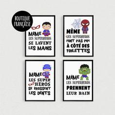 PROMOTION : Lot de 4 Posters Citations super héros enfant à disposer en pêle-mèle dans une salle de bain - Affiche citation…
