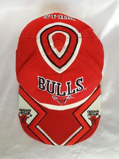 327085e352be3 Vintage 90s Chicago Bulls NBA Basketball Logo Spell Out Embroidery Red Snapback  Cap Hat Dream Team Michael Jordan Pippen World Champions