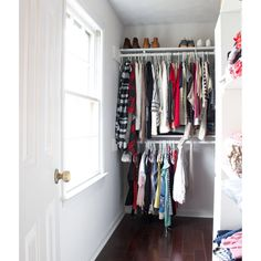 Check out this swoon-worthy closet makeover reveal, including a source list by Erin Spain. Organization, Closet Makeover, Closet Organization, Closet, Shelf Organization, Closet Hacks Organizing, Closet Shelf Organization, Drawer Dividers, Closet Clutter