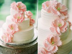 3-tier classic wedding cake with light pink sugar flowers.