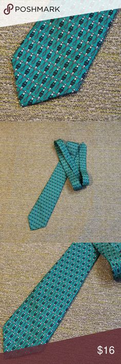 Vintage Lord & Taylor Teal 100% Silk Tie Super cute pattern with belts and ropes with teal background. 100% silk - Very nice condition Lord & Taylor Accessories Ties