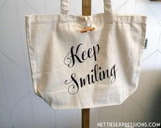 Keep Smiling - Recycled Cotton Tote Bag Cotton Tote Bags, Reusable Tote Bags, Keep Smiling, Heat Transfer Vinyl, Graduation Gifts, Bag Making, Cotton Canvas, Recycling, Gift Ideas