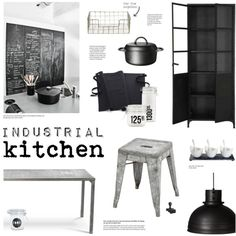 Industrial Kitchen by little-bumblebee on Polyvore featuring interior, interiors, interior design, home, home decor, interior decorating, Crate and Barrel, Luigi Bormioli, House Doctor and kitchen