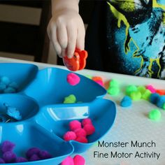Monster fine motor and color sorting activity