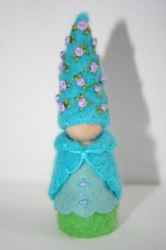 Turquoise and lavender felt gnome Waldorf inspired flower fairy elf sprite nature table play doll.Etsy.