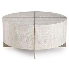 Clifton Round Coffee Table from Z Gallerie (Use a glass - even a round mirror - as a top for this coffee table to protect wood finish) Drum Coffee Table, Round Coffee Table, Plywood Furniture, Yellow Cabinets, Yellow Tile, Media Room Design, Lounge, Formal Living Rooms, Living Room Inspiration