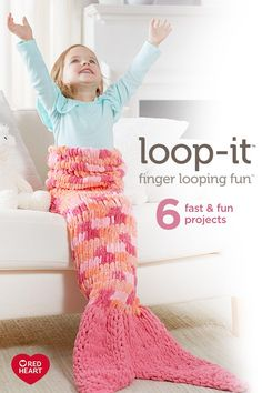 Fun, fast and easy, Loop-It is a new kind of yarn that requires no hooks or needles! Just use your fingers to easily pull the loops through one another and watch the fabric appear. Loop-It is finger looping fun! Finger Knitting Projects, Yarn Projects, Crochet Projects, Mermaid Tail Pattern, Crochet Mermaid Tail, Knitted Afghans, Knitted Blankets, Arm Knitting, Knitting Machine