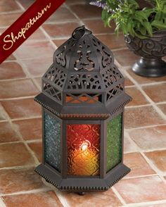 Image 0 of 20 Large Centerpiece Moroccan Amber, Green & Blue Glass Candle Lantern