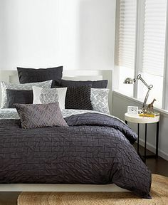 Bar III Bedding, Box Pleat Carbon Twin Duvet Cover - Duvet Covers - Bed & Bath - Macy's