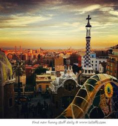 View from Gaudi park in Barcelona. Places Around The World, Oh The Places You'll Go, Places To Travel, Places To Visit, Around The Worlds, Gaudi, Dream Vacations, Vacation Spots, Parc Guell