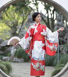 Traditional Japanese geisha kimono yukata kimono retro style #Handmade #Kimono