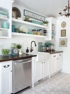 White kitchen, open shelves & open upper cabinets