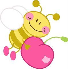 Bee with a cherry Bee Crafts, Diy And Crafts, Clip Art, Cute Clipart, Bee Theme, Cute Cartoon, Cute Drawings, Flower Art, Coloring Pages