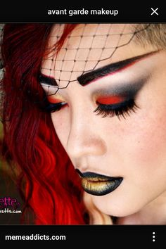 Girl on Fire Makeup Tutorial - Makeup Geek Runway Makeup, Glam Makeup, Makeup Geek, Beauty Makeup, Glamorous Makeup, Dramatic Makeup, Fire Makeup, Faux Lashes, Look Girl