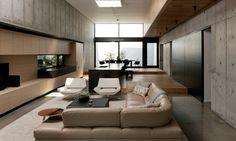Concrete Box House, Robertson Design. * Raised platform for kitchen dining