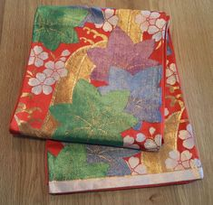 Vintage Japanese Silk Kimono Fukuro Obi maple cherryblossom