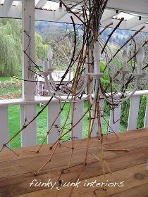 Funky Junk Interiors: Lighting up my life with a white twig chandelier