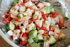 Zesty Lime Shrimp And Avocado Salad 1 lb jumbo cooked shrimp 1 medium tomato, diced 1 hass avocado 1 jalapeno 2 limes, juice of 1 tsp olive oil 1 tbsp chopped cilantro salt and fresh pepper to taste Shrimp Avocado Salad, Avocado Salad Recipes, Avocado Salat, Shrimp Ceviche, Seafood Salad, Shrimp Tostadas, Avocado Dessert, Radish Salad, Spinach Salad