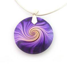 Swirl Pendant Polymer Clay Purple And Yellow - RolyzTreasures