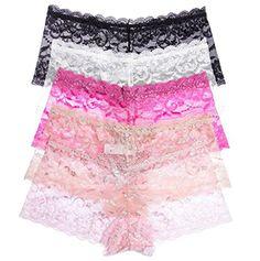 02a5f6aa2e6d9 5 Pack InsBuy Women s Lace Boyshort Panties Size XS-4XL at Amazon Women s  Clothing store