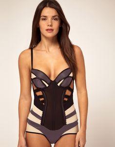 Nichole De Carle London Exclusive To Asos Silk Bodysuit With Contrast Strap Detail