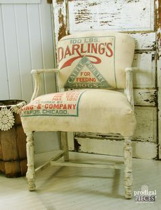 Prodigal Pieces: Vintage Feed Sack Chair {Themed Makeover Day} #prodigalpieces