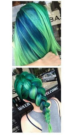 Green braided dyed hair color