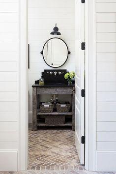 brick flooring Country Bathroom - How To Do The Modern Farmhouse - Photos Brick Bathroom, Bathroom Flooring, Zen Bathroom, Bathroom Plants, Brick Tiles, Brick Flooring, Wood Paneling, Floors, Farmhouse Laundry Room