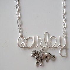 Sorority lion name necklace by QueenCityConceptions on Etsy alpha delta adpi sir fidel phi mu phimu