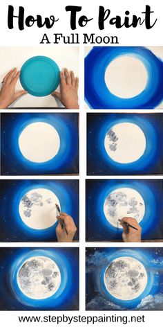 Moon Painting - Step By Step Acrylic Painting Tutorial - With Pictures - - Learn how to paint the moon! This moon painting tutorial is intended for the beginner acrylic painter. Learn the techniques for painting a full moon. Cute Canvas Paintings, Canvas Painting Tutorials, Easy Canvas Painting, Moon Painting, Simple Acrylic Paintings, Easy Paintings, Painting Techniques, Diy Painting, Painting Pictures