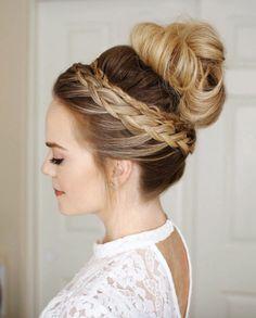 Dutch braid high bun by Missy Sue