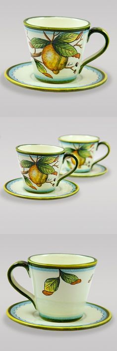 Ceramic coffee cup and saucer decorated with lemons, leaves and branches on a white background. $63.99 #lemon #white #breakfast Follow this link to see all our drink-ware products and their discounted prices: http://www.pietrafittaimports.com/kitchen/drinkware.html?p=2