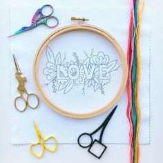 Gettin' busy stitching up another one of our LOVE hoops. - Gettin' busy stitching up another one of our LOVE hoops. Embroidery Materials, Embroidery Stitches Tutorial, Embroidery Patterns Free, Hand Embroidery Stitches, Modern Embroidery, Embroidery Hoop Art, Crewel Embroidery, Hand Embroidery Designs, Embroidery Tattoo
