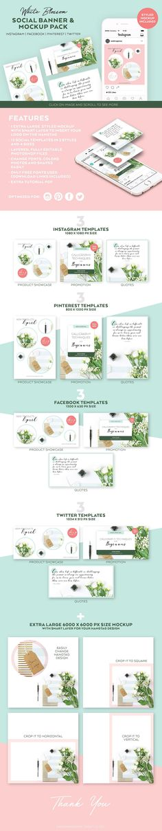 White Blossom Social Template Pack by Andimaginary Creative Co. on Creative Market Social Media Template, Social Media Design, Social Media Graphics, Photoshop Cs5, Photoshop Elements, Create A Banner, Web Design, Modern Design, Graphic Design