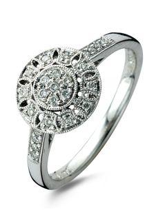 Vintage witgouden ring