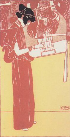 Musik (lithograph), 1901-Gustav Klimt - by style - Art Nouveau (Modern)